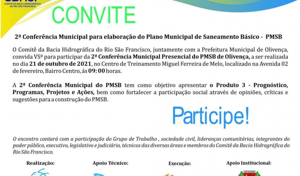 Convite – 2ª Conferência Municipal Presencial do PMSB de Olivença